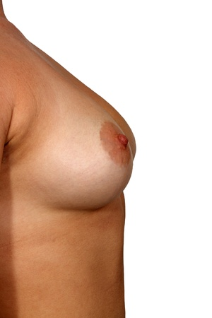 A close-up of a right female breast, unretouched, with generous copyspace. Stock Photo - 13773931