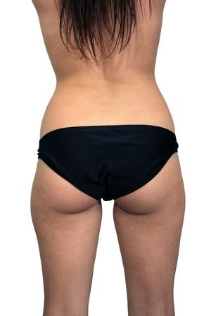seminude: Una vista posteriore di un busto femminile isolato su uno sfondo bianco, non ritoccate, ma