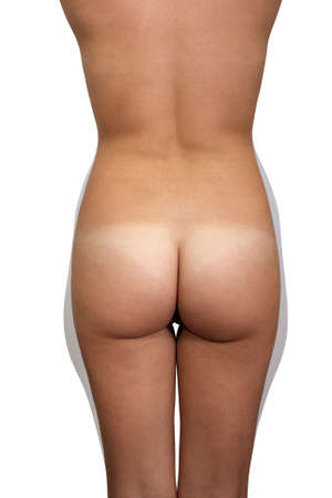 A rear view of a nude female torso isolated on a white background, unretouched, illustrating  in grey  areas of potential fat removal for body contouring and shaping  Stock Photo - 13773928