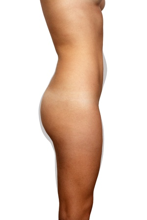 A right profile view of a nude female torso isolated on a white background, unretouched, illustrating  in grey  areas of potential fat removal for body contouring and shaping  Stock Photo