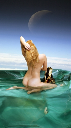 A lovely, young, nude blonde kneels in her spa high in the earths atmosphere.  Background photo public domain from NASA.