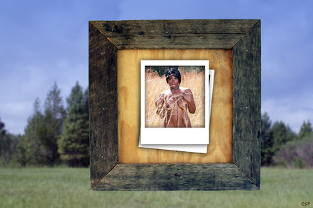 An instant-picture-type photo of a beautiful, young, busty, woman stands nude in tall grass outdoors, contained in a real, aged and weathered wood frame, with a nature/scenic background slightly blurred.
