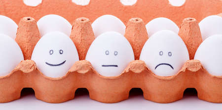 dramatic characters: Mood Concept from three eggs showing different emotion