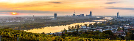 Morning view of Vienna skyline with river danube in autumn Reklamní fotografie