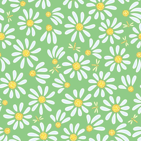 Seamless camomile background Vector