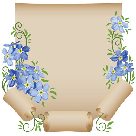 Old scroll  Flower  Forget-me-not Vector