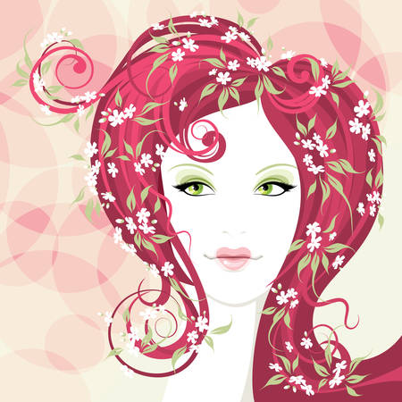Beautiful girl with heart shaped lips and hair with flower Vector