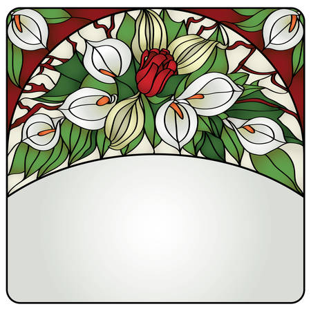 Decor glass card with flowers Vector