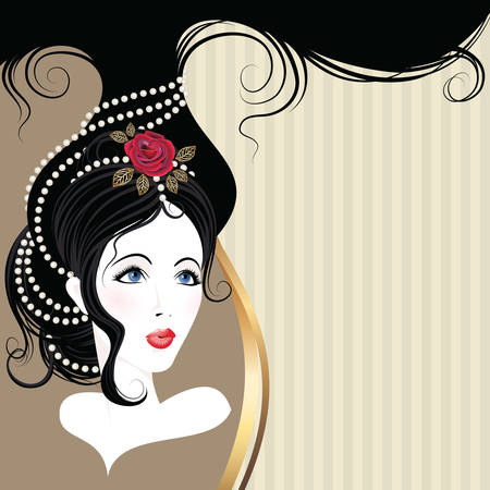 Vintage postcard  Beautiful girl head with rose and jewerly on hair  Vector