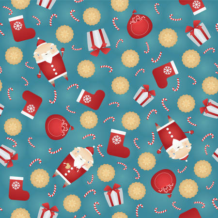 candy stick: Vector seamless Christmas pattern background with Santa Claus, gift sack, gingerbread cookies, red sock, gift box and candy stick