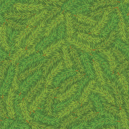 pine branch: Vector seamless green pine branch chaotic background. Winter pattern Illustration