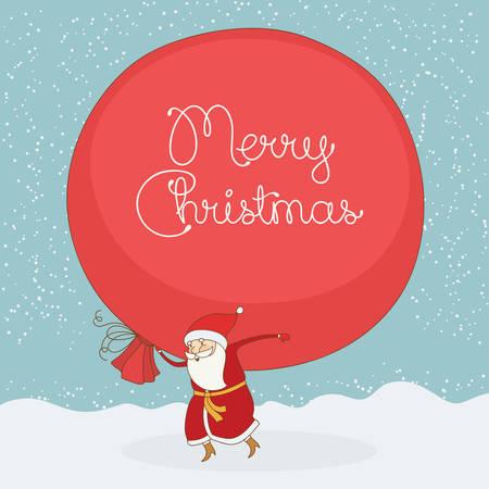 christmas postcard: Santa Claus carries the large gift sack. Vector christmas postcard Illustration