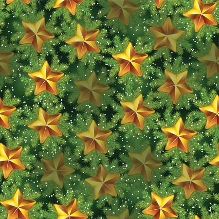 wrapper: Vintage seamless pattern with pine tree branches and stars. Holiday theme. Can be used as decoration for the gift boxes, wallpapers, wrapper papers, web sites backgrounds.
