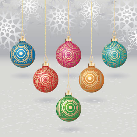 gold design: christmas balls with gold design on light background with flakes