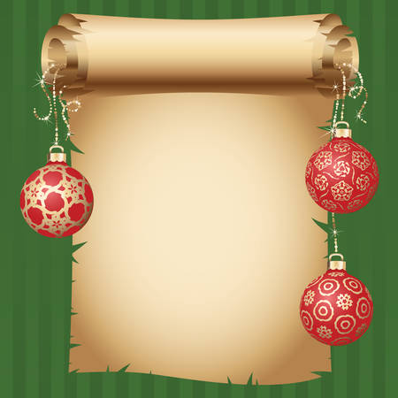medieval scroll: Medieval scroll paper and different vintage gold design Christmas balls on bright ribbon