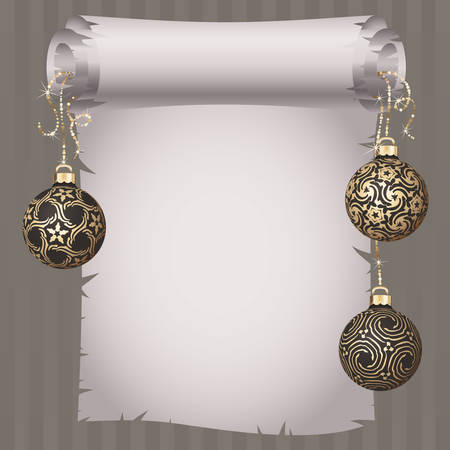 gold design: Medieval scroll paper and different vintage gold design Christmas balls on bright ribbon