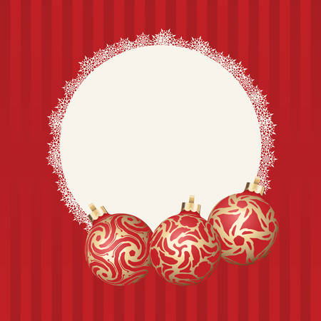 gold design: Text frame with white snowflakes border and three different Christmas balls with gold design