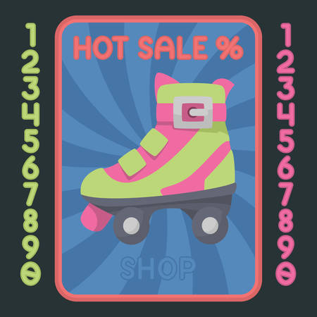 rollerskate: Rollerskate boot flat design colorful icon. Vector hot sale label.