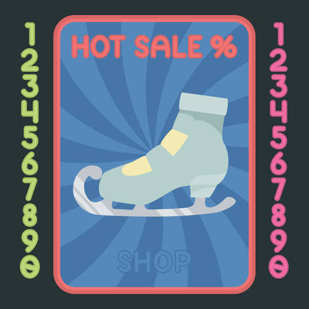 figureskating: Figure-skating boot flat design colorful icon. Vector hot sale label.