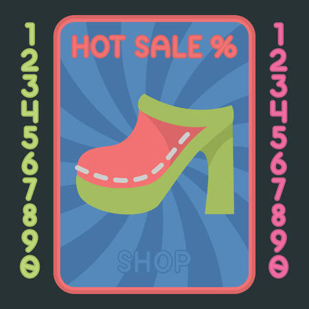 leather goods: High heel flat design colorful icon. Vector hot sale label. Illustration