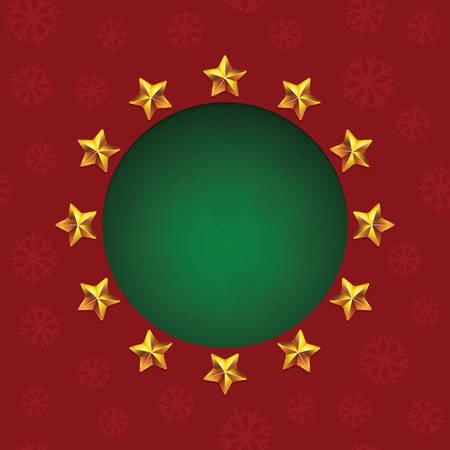 fiambres: brillantes estrellas de oro alrededor del agujero de texto verde. tarjeta de felicitación VectorChristmas