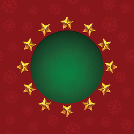 cold cuts: Gold shiny stars around green text hole. VectorChristmas greeting card