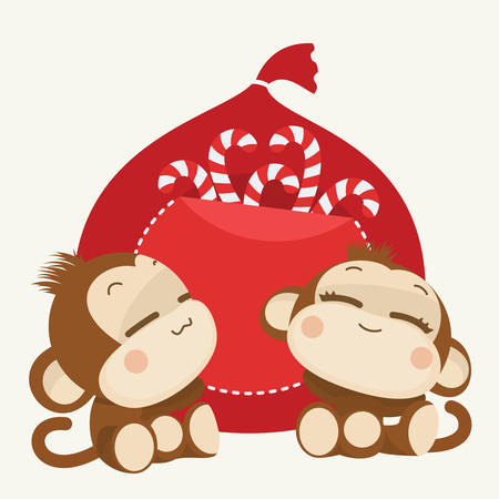 lovely couple: Cute lovely monkey couple. Happy New Year 2016. Vector Illustration