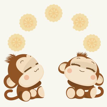 귀여운 사랑스러운 원숭이 커플. 새해 복 많이 받으세요 2016 벡터 일러스트 레이 션 일러스트