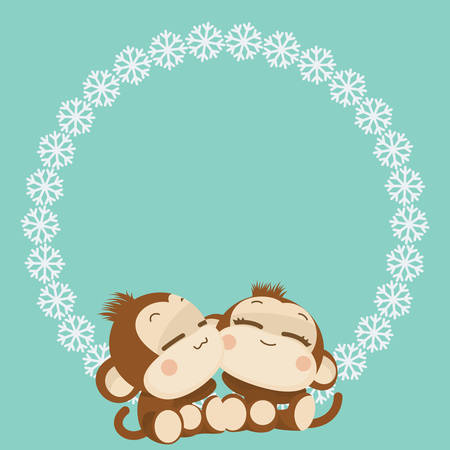love couple cartoon: Cute lovely monkey couple. Happy New Year 2016. Vector Illustration