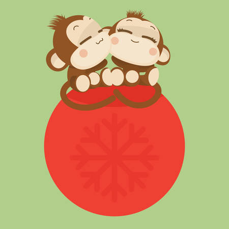 new designs: Cute lovely monkey couple. Happy New Year 2016.