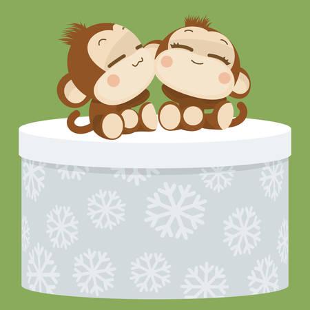 lovely couple: Cute lovely monkey couple. Happy New Year 2016.
