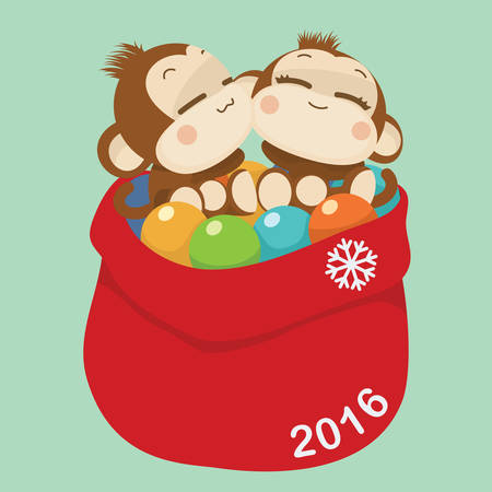 face  illustration: Cute lovely monkey couple. Happy New Year 2016.