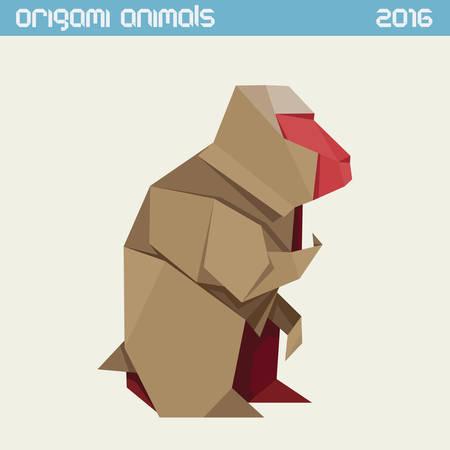折り紙猿。シンプルなフラット イラストをオフにします。新しい年 2016 年