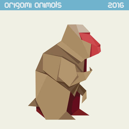 monkey silhouette: Origami monkey. clear simple flat illustration. New Year 2016