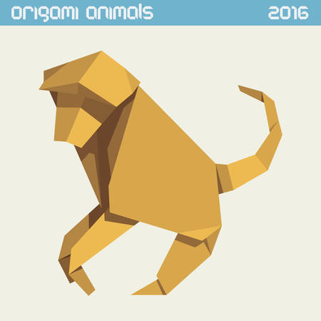 anthropoid: Origami monkey. clear simple flat illustration. New Year 2016