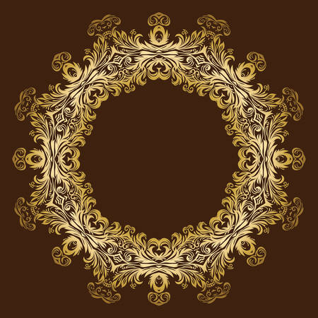 luxurious: Vintage luxurious ornate floral gold frame Illustration