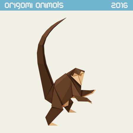 종이 접기 원숭이. 클리어 단순한 평면 그림입니다. 새해 2016