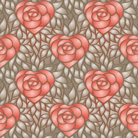 heart shaped leaves: Heart shaped rose and gold leaves. seamless pattern for background, web, wrapper paper, wallpaper