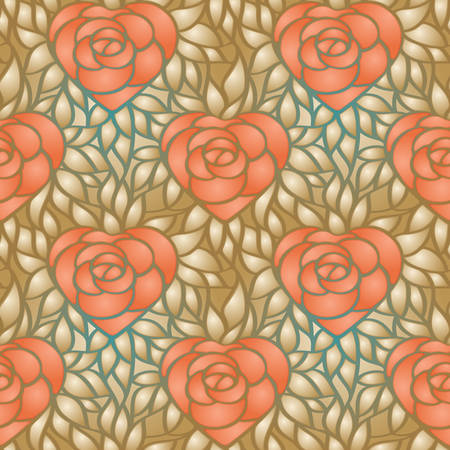 heart shaped leaves: Heart shaped rose and gold leaves. Seamless pattern for background, web, wrapper paper, wallpaper Illustration