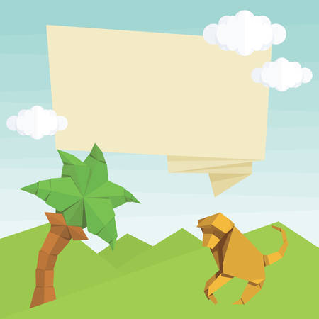 baloon: Origami monkey, palm tree, text baloon and clouds. simple flat illustration. Summer cartoon