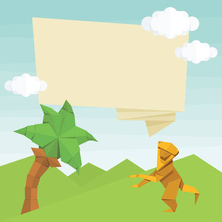 anthropoid: Origami monkey, palm tree, text balloon and clouds. simple flat illustration. Summer cartoon Illustration