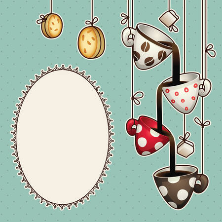 Vintage doodle set design coffee chocolate cups, cookies and sugar on ropes.