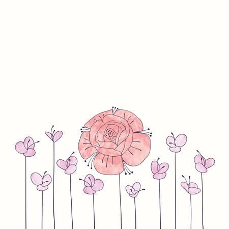水彩の丸い花フレーム。手は、ロマンチックな花の境界線を描画します。