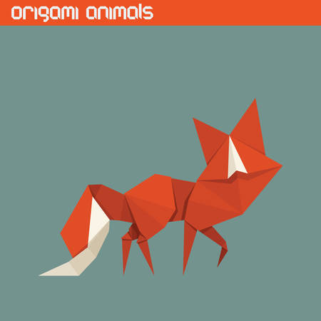 fox: origami isolated animal. Cute triangle Fox