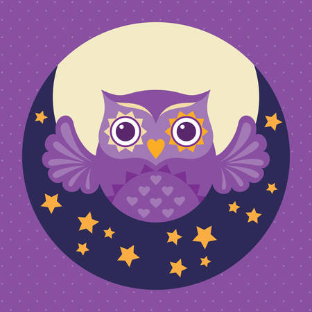 night owl: Cute flat owl icon with moon and stars. Valentines Day love card. Vector illustration.