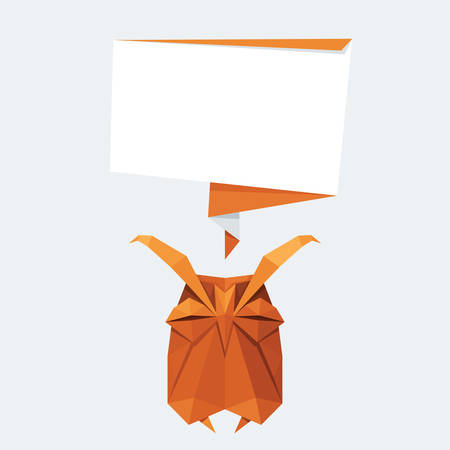 eagle owl: Vector origami isolated animal. Cute triangle sleeping Owl with text balloon Illustration