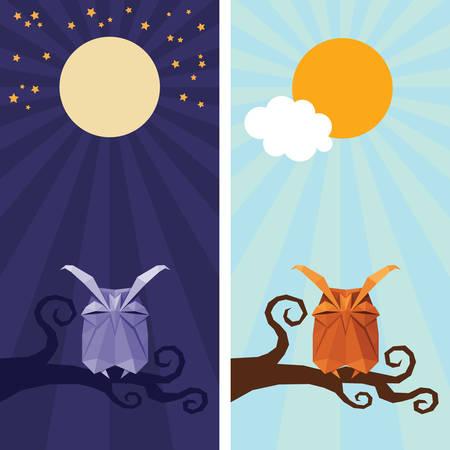 night bird: Vector origami isolated animal. Cute triangle sleeping Owl with sun,  stars and moon on night and day sky
