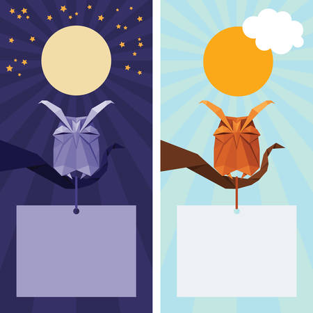 sky sun: Vector origami isolated animal. Cute triangle sleeping Owl with sun,  stars and moon on night and day sky