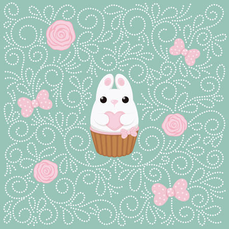 coney: Vector card with white bunny with heart, cake, pink roses and polka dots bows. Abstract flat vintage design.