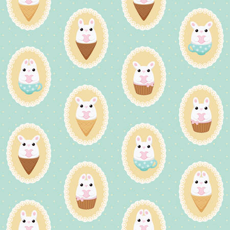 laced: Vector pattern with white bunny with heart, ice cream, cake and polka dots bows in laced frames. Abstract flat vintage design. Illustration